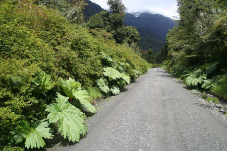 Famous Carretera Austral going through spectacular mountain scenery in Chilean Patagonia