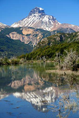 Reflection of mount Cerro Castillo seen from Carretera Austral southern Chile