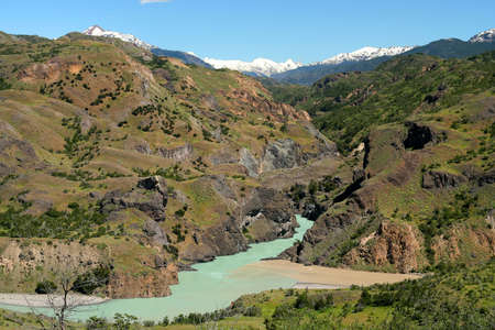 Confluence of the rivers in a beautiful part of Chilean Patagonia Stock Photo