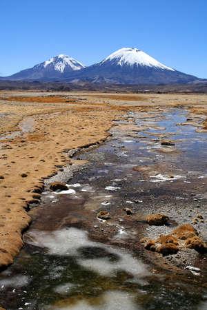 Snowcapped Parinacota volcano in Park Lauca in Chile Stock Photo - 15683765