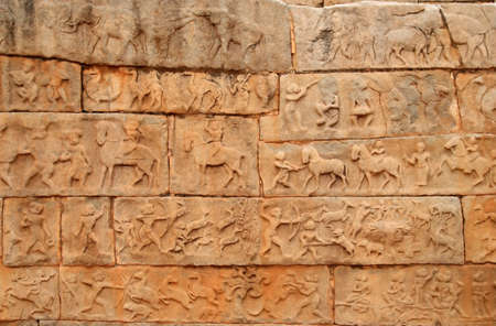 Ancient bas-relief in the temple in Hampi, Karnataka, India photo