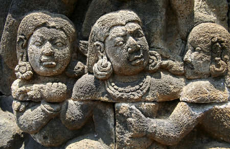 bas: Detail of carved relief at Borobudur on Java, Indonesia