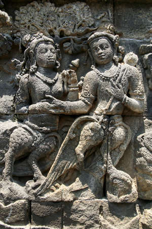 Detail of carved relief at Borobudur on Java, Indonesia photo