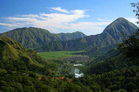 Panoramisch uitzicht op het prachtige interieur van de Lombok, Indonesië Stockfoto
