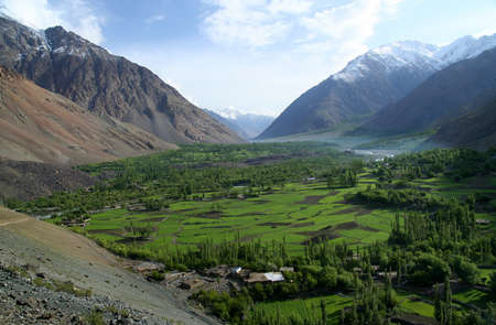 Beautiful mountain valley in the Karakorum mountains in Pakistan between Gilgit and Chitral