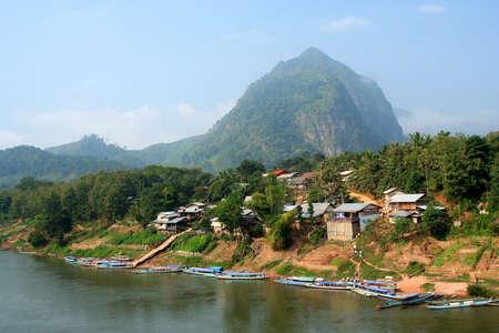 ou: Nong Khiao at the bank of the river Nam Ou, Laos Stock Photo