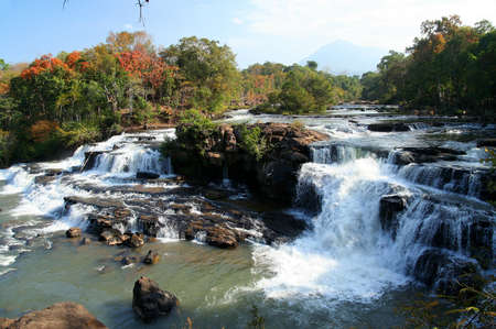 Beautiful Tad Lo waterfall on the Bolaven Plateau in Laos Stock Photo - 16149020
