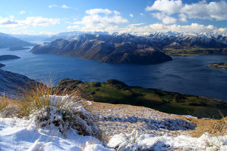 Beautiful view from the path leading up to the summit of Mount Roy, South Island, New Zealand photo