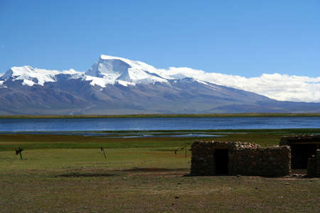 Stunning landscape of Lake Manansovar in Central Tibet photo