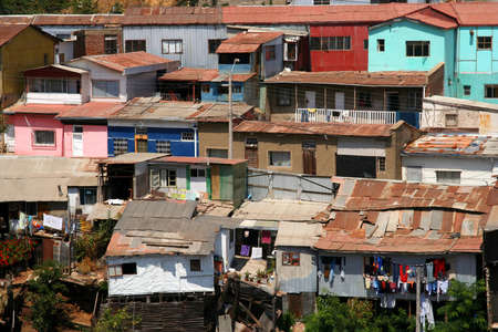 View of the roof of homes in Valparaiso poor suburb