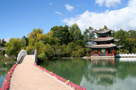 The famous Black Dragon Pool and pagoda in Yunnan province, China