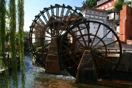 waterwheel: The famous Lijiang water , Old Town, Yunnan province, China Stock Photo