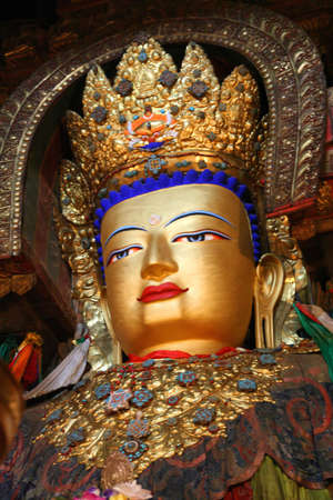Golden Budda statue in one of the Tibetan monasteries in Shigatse, Tibet photo