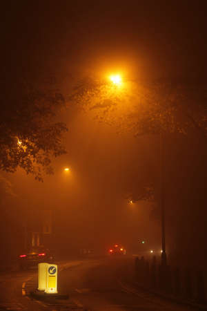 Street in London suburb in the early morning fog Stock Photo - 17900576
