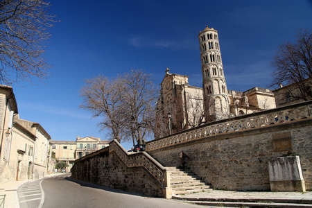 edifice: Beautiful Fenestrelle Tower, Saint-Theodorit Cathedral in Uzes in southern France Stock Photo