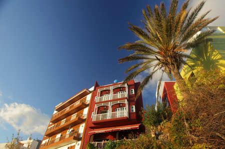 view of an atrium in a building: Two hotels on the seaside in La Gomera - small Canary Island, Spain Editorial