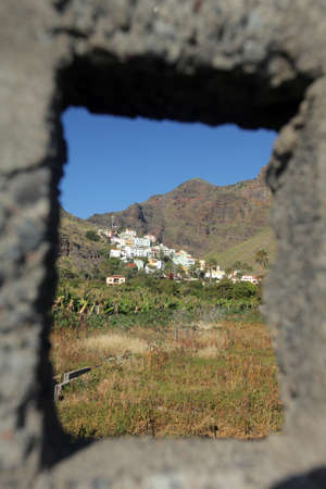 laurel mountain: View of hillside homes in the Valle Gran Rey on the island of La Gomera, Canary Islands, Spain