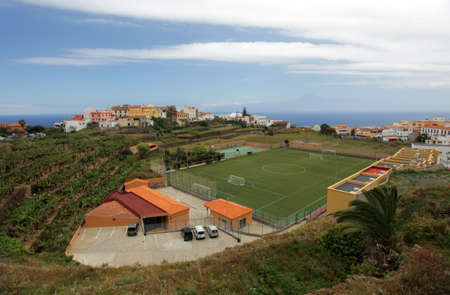 vallehermoso: Football pitch in Vallehermoso town on the island of La Gomera, Canary Islands, Spain Stock Photo