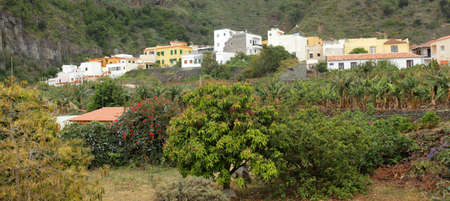 vallehermoso: Hillside homes in Vallehermoso on the island of La Gomera, Canary Islands, Spain