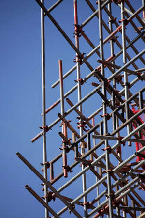 buildingsite: Scaffolding on a building site of a new student centre at the London School of Economics in London Stock Photo