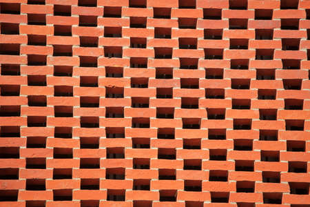 Red bricks wall pattern in a newly constructed building photo