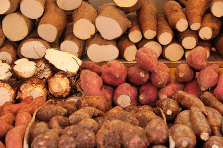 brixton: Variety of yams on sale on a Brixton farmers market Stock Photo