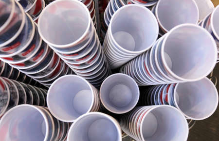 Plastic cups stacked up in a souvenir shop