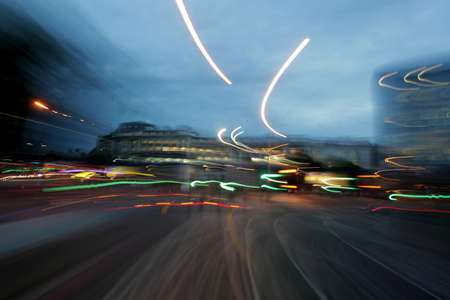 doubledecker: Dynamic picture of a London street at night