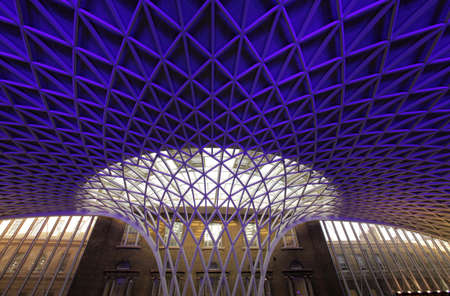 Steel roof of Kings Cross train station in London
