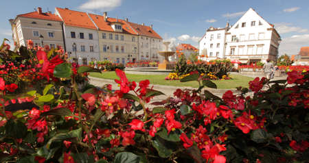 rynek:  old town square on a beautiful summer day, Poland Stock Photo