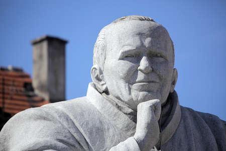 Statue of Pope John Paul II  Karol Wojtyla  in Swiebodzice, Poland