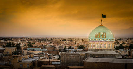 Panorama of Kashan city at sunset in Iran photo