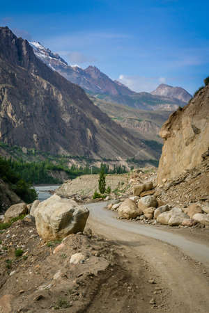 Beautiful road through Karakorum mountains in Pakistan photo