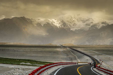 One of the most stunning mountain roads in the world - Karakorum Highway in China photo