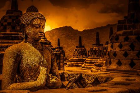 Buddha statue in Borobudur temple in Jawa in Indonesia