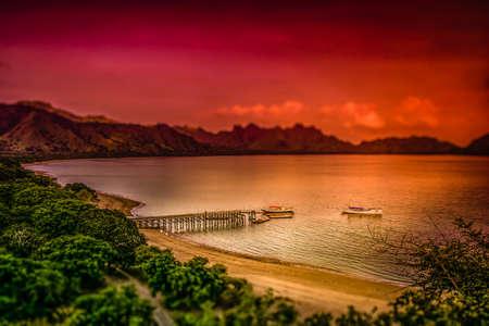 komodo island: Landing pier on the beach on the Komodo island, Indonesia
