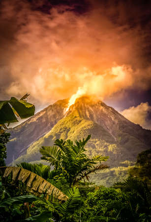 Active volcano on the Indonesian island Flores, Indonesia Stock Photo