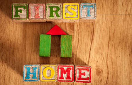 Vintage Wooden Children s Blocks spell out the words first home