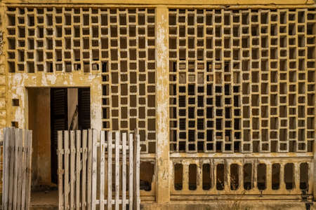 eyesore: Entrance to the old ruined colonial home in Madagascar Stock Photo