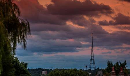 transmitting: The high Crystal Palace transmitting station at dusk, Bromley, London, UK