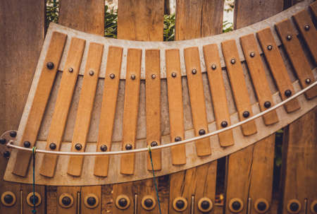 tuneful: Large wooden xylophone in a public playground
