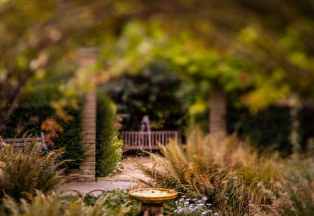 Small fountain in the Rookery in Streatham Common Park in London, UK photo