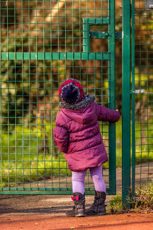 Little girl trying to open metal gates leading to the park