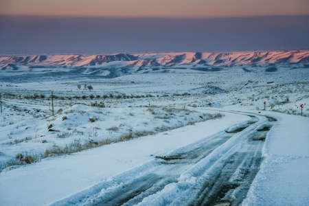snow road: Covered in snow road through the  mountains in the northern Iran between Kandovan village and Tabriz Stock Photo