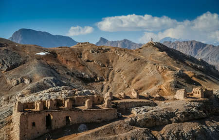 massif: Interesting rock formations and mountains and ruins of the old temples near Towers of Silence on outskirts of the city of Yazd, Iran