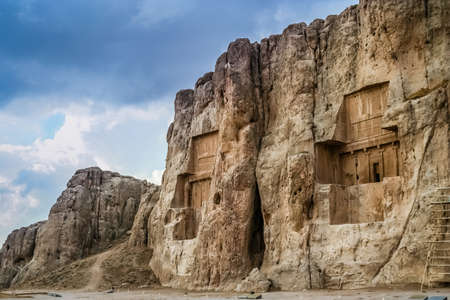 mid afternoon: Royal tombs near ancient Persepolis in Iran Stock Photo