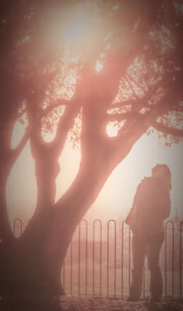 dreamy: Dreamy effect picture of a girl standing under the tree Stock Photo