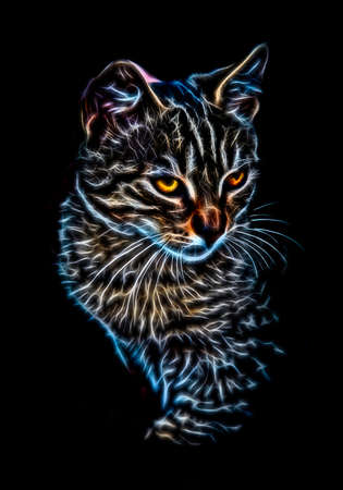 rendered: Fractal rendered portrait of a cat sitting