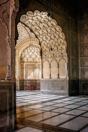 islamic wonderful: Interior of a Badshahi Mosque in Lahore Pakistan Editorial