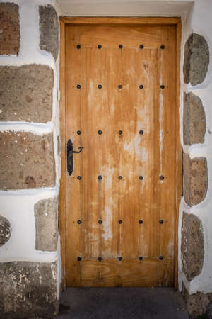 canarian: Wooden doors to one of the homes in Fataga in Gran Canaria Canary Islands